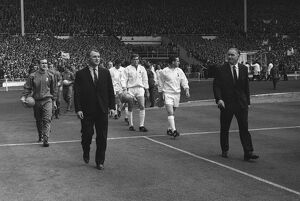 The teams walk out for the 1967 FA Cup Final