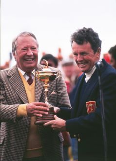 Ted Heath presents Jack Burke Jr. with the Ryder Cup in 1973