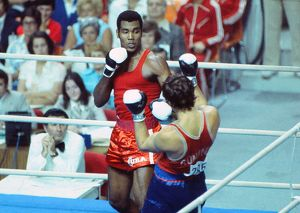 Teofilo Stevenson on the way to winning gold at the 1976 Montreal Olympics
