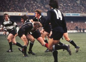 Tom David surges forward for the Barbarians against the All Blacks in 1973