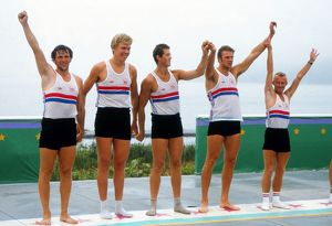 The victorious GB coxed fours rowers celebrate gold - 1984 Los Angeles Olympics
