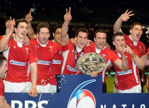 Wales celebrate winnin the Triple Crown in 2012