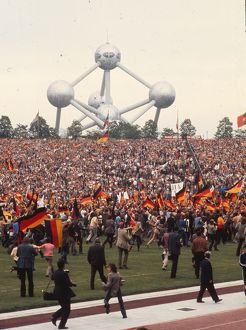 West German fans invade the pitch after their side wins Euro 72