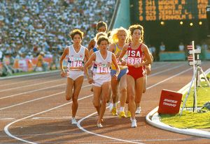 The women's 3000m final at the 1984 Los Angeles Olympics