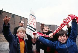 Young Sunderland fans outside Roker Park, 1973.