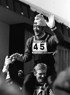 Yukio Kasaya celebrates winning Japan's first Winter Olympic gold - 1972 Sapporo